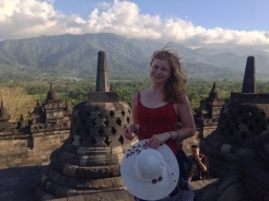 Sarah at Borobudur