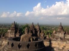 One of the exposed Bhudda statues at Borobudur