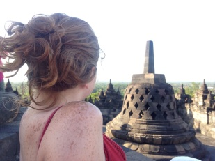 Sarah looking out over Borobudur