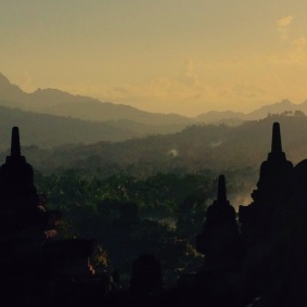 A misty morning at Borobudur