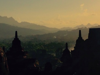 A misty morning at Borobudur