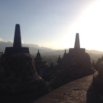 Morning mist hanging over Borobudur