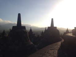 Morning mist hanging over Borobudur