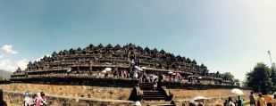 Looking up at Borobudur