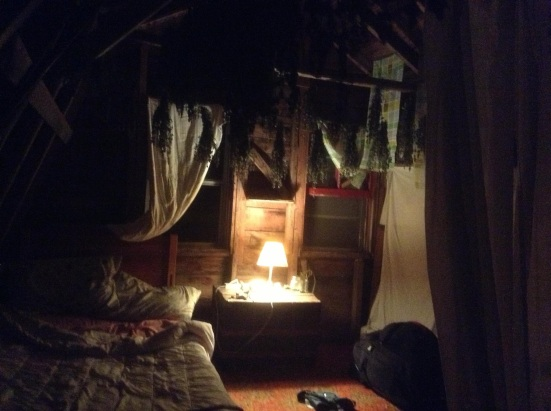 My bedroom in a woodshed in Middle River