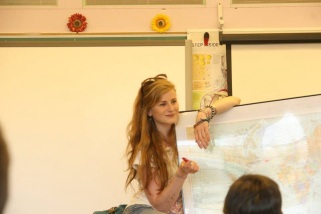 Giving a presentation in Middle River School about my travels