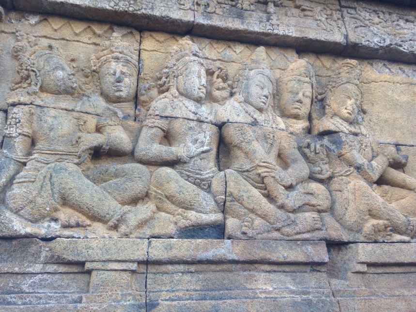 Carvings adorning the walls of Borobudur