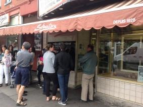 People waiting outside Schwartz