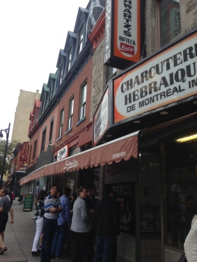 Waiting to try Schwartz, the best sandwich in Montreal!