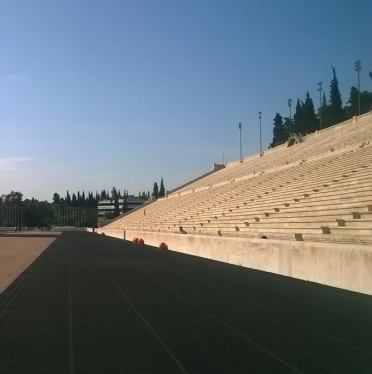Looking along the running track